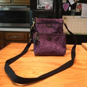 Coach Snake Print Crossbody & Cosmetic Bag